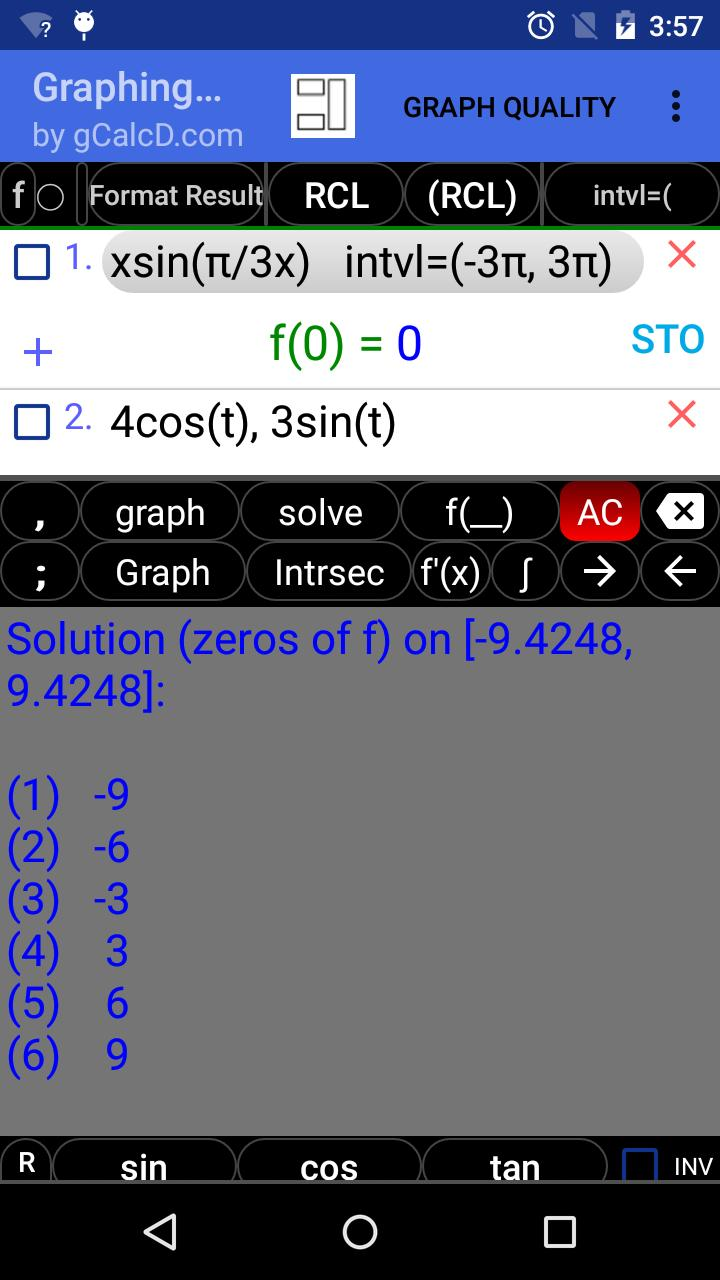 Graphing Calculator | Intersections | Derivatives for Android - APK Download