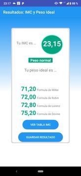 Calculadora IMC Indice de masa Corporal Peso Ideal скриншот 1