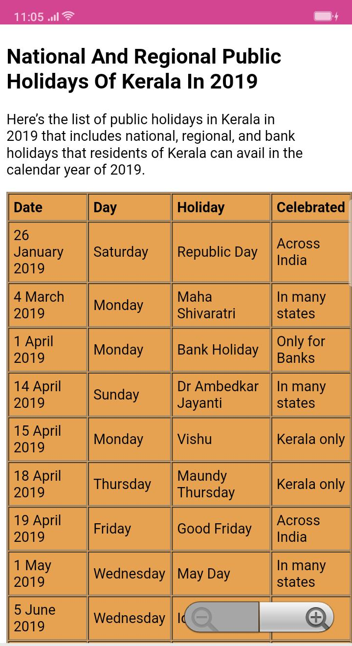 Malayalam Calendar 2019 : മലയാളം കലണ്ടർ 2019 for Android