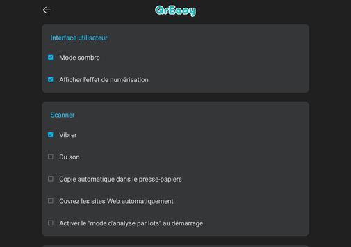 Scanner code QR & code barres (pas de pubs) capture d'écran 15