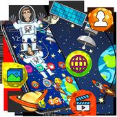 Cartoon galaxy astronaut theme icon