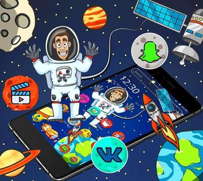 Cartoon galaxy astronaut theme poster