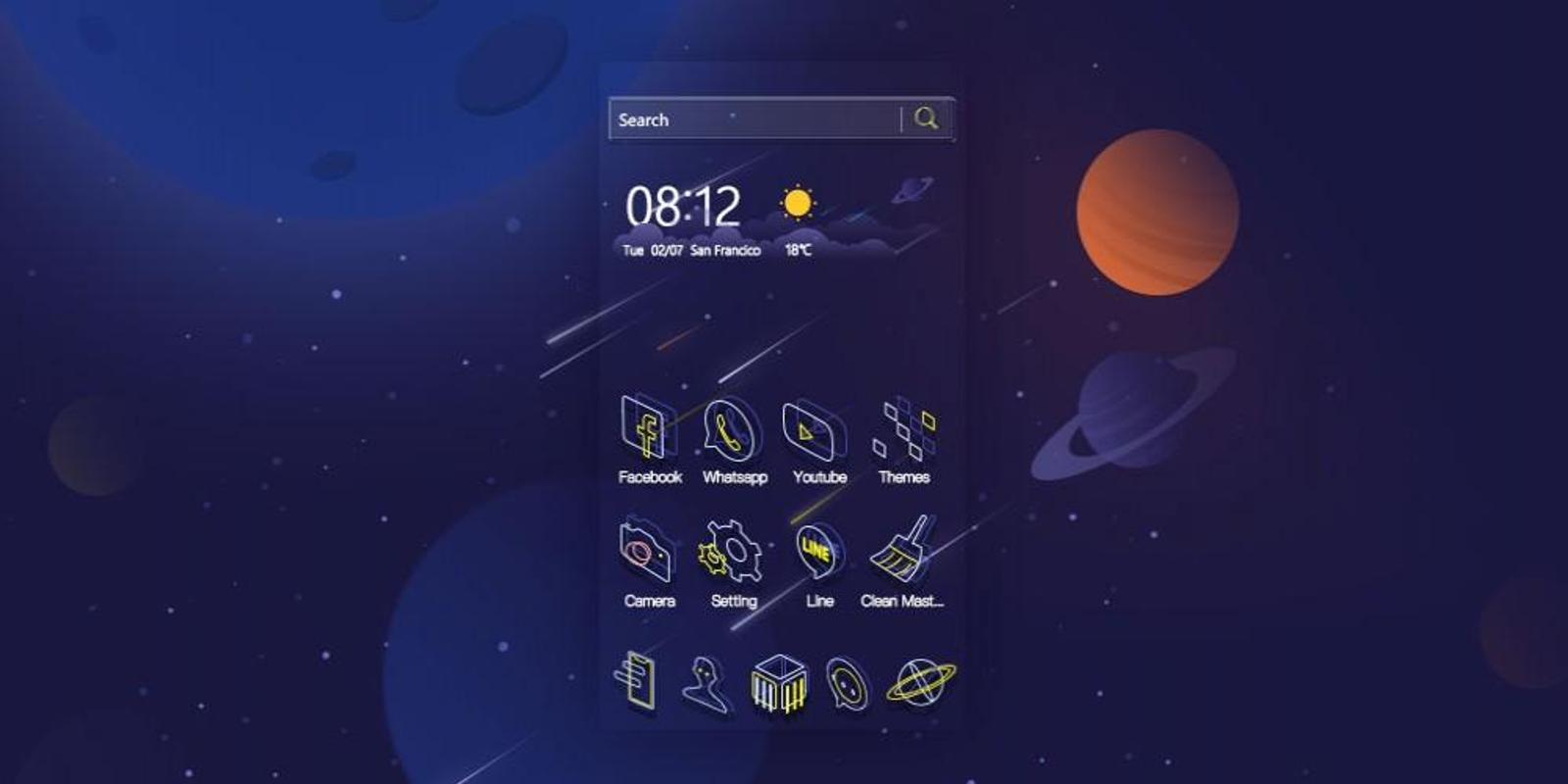 Cartoon Space Universe Theme For Android