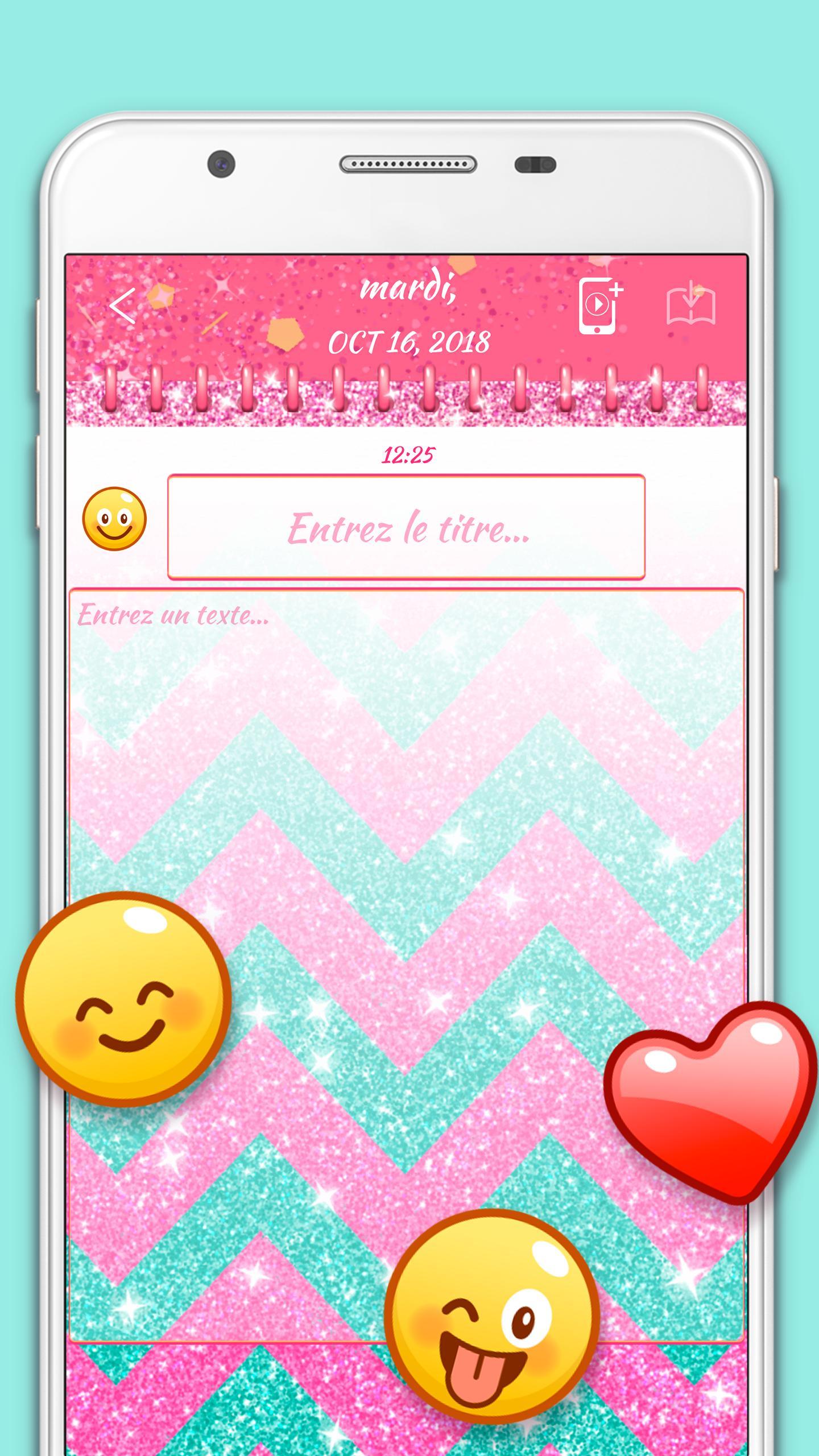 Journal Intime Rose Pour Filles Avec Mot De Passe Pour Android