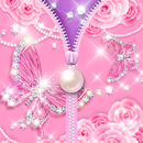 Zipper Lock Screen Pink Butterfly Pearl APK Android