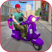 Pizza boy delivery games: real racing Stunt Free icon