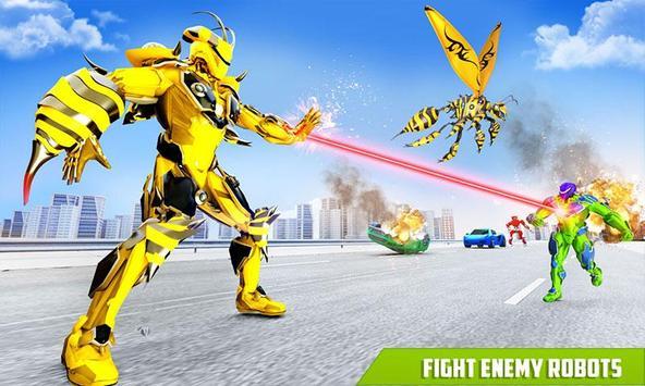 Flying Bee Transform Robot War screenshot 2