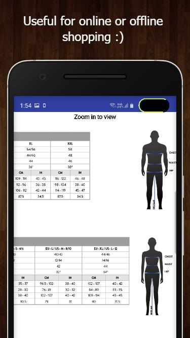 International Clothing Size Chart 2019 For Android