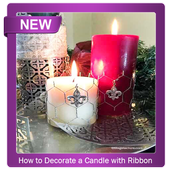 how to decorate a candle with ribbon icon