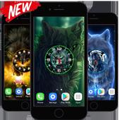 Wolf Clock Live Wallpaper HD icon