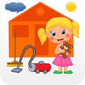 Game cleaning girl clean house icon