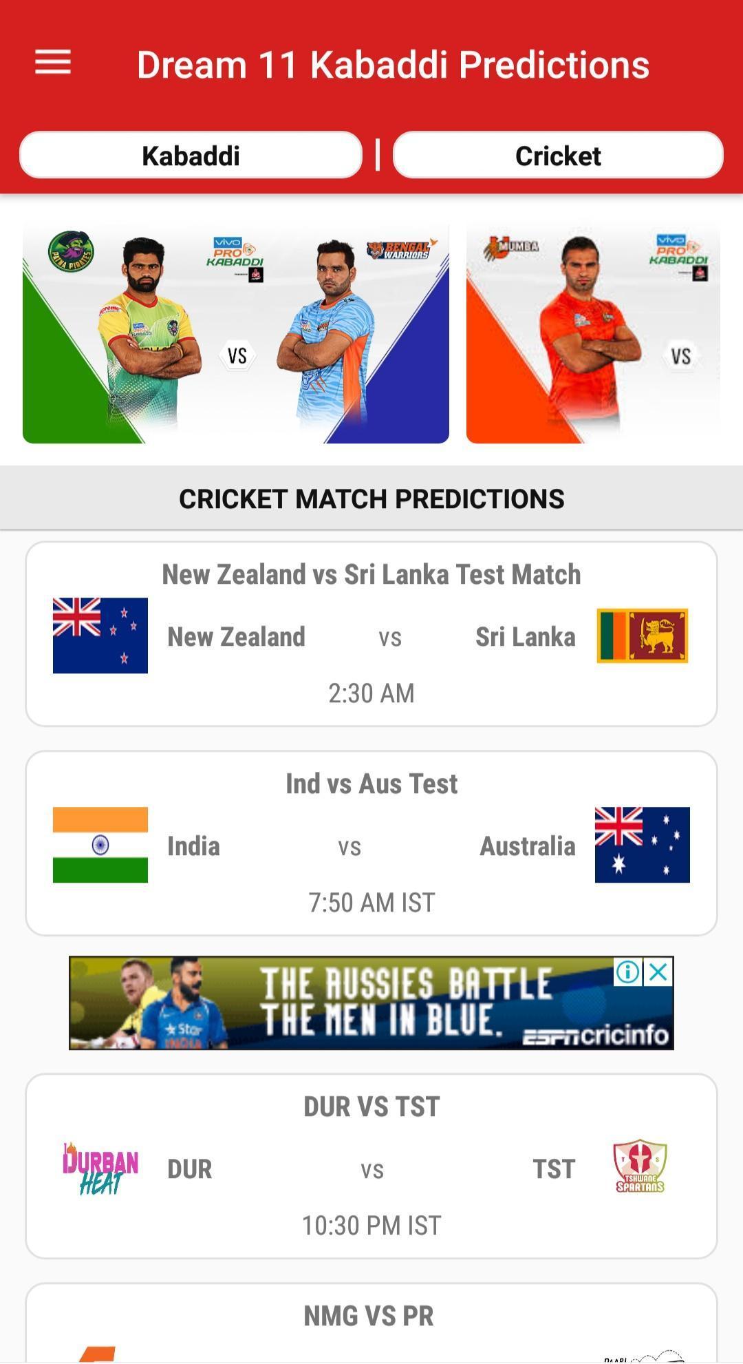 Dream11 Big Bash Cricket Predictions & Pro Kabaddi for