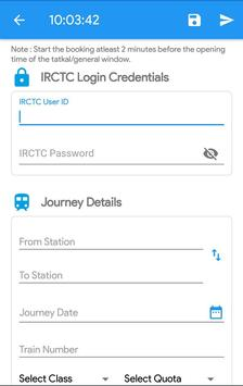 Tatkal Made Easy - IRCTC Train Ticket Booking screenshot 1