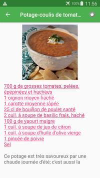 Coulis de tomate avec calories recettes français. screenshot 4