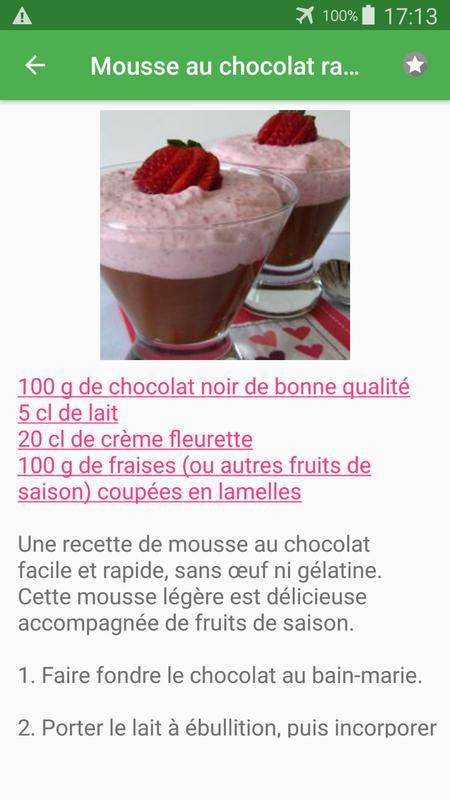Mousse Avec Calories Recettes En Français For Android Apk Download