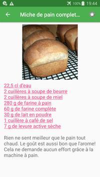 Machine à pain avec calories recettes en français. screenshot 7