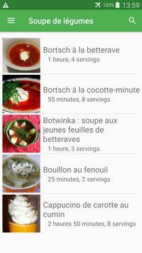 Soupe de légumes avec calories recettes. screenshot 2