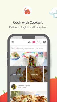 Cookwik App, Recipes in Malayalam, English poster