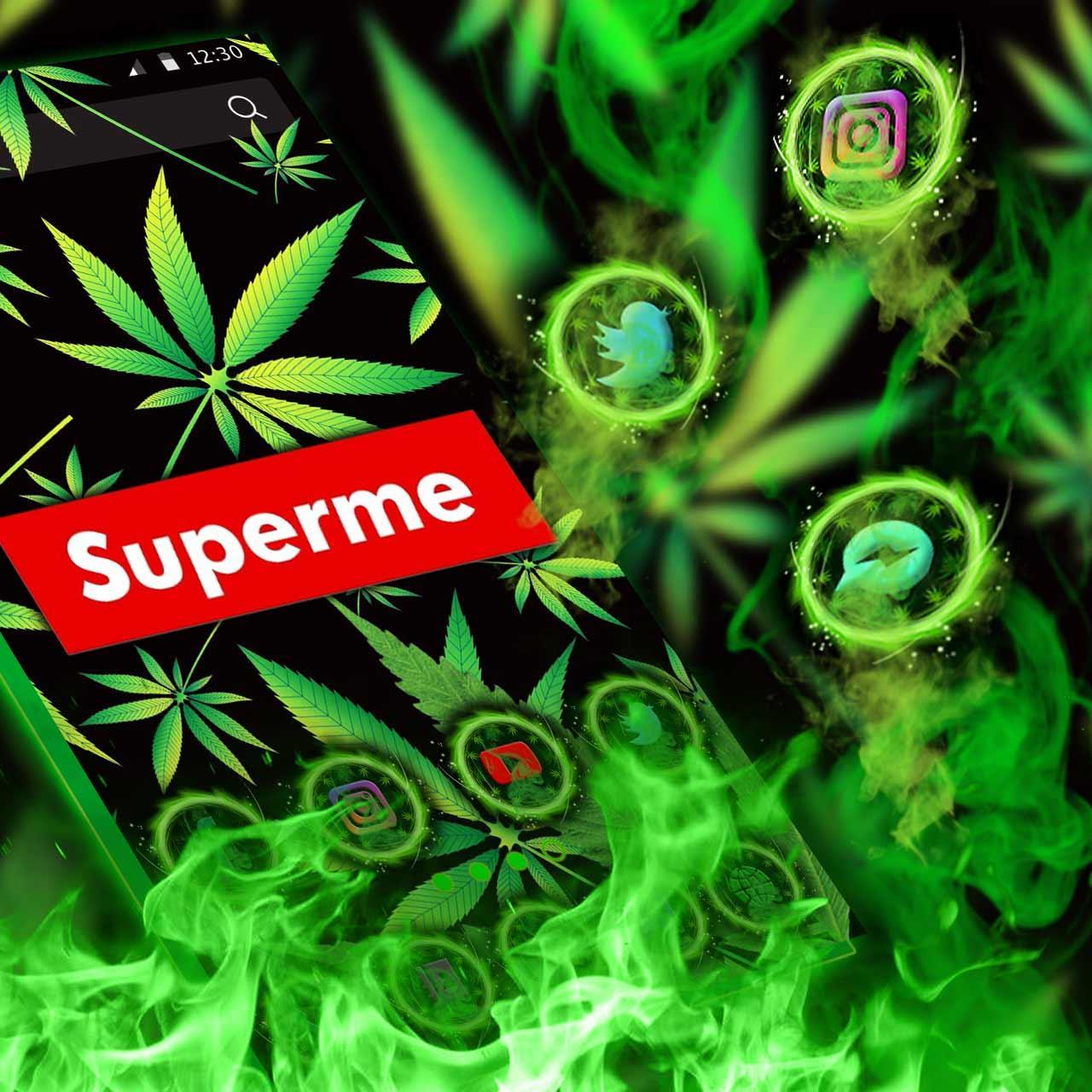 Neon Supreme Weed Themes Live Wallpaper Pour Android