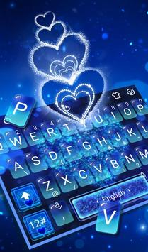 Blue Sparkling Heart Keyboard Theme poster