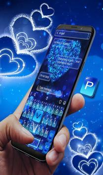 Blue Sparkling Heart Keyboard Theme screenshot 1