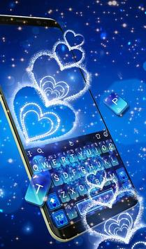Blue Sparkling Heart Keyboard Theme screenshot 2