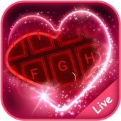 Live Neon Red Heart Keyboard Theme icon