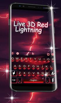 Live 3D Red Lightning Keyboard Theme poster