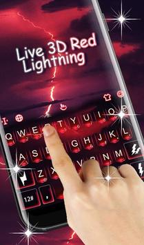 Live 3D Red Lightning Keyboard Theme screenshot 1