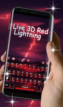 Live 3D Red Lightning Keyboard Theme screenshot 2