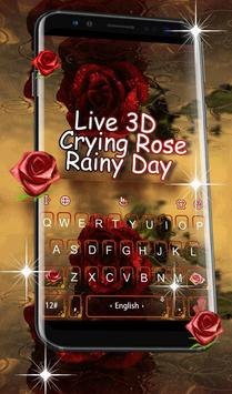 3D Live Rose Rainy Day Keyboard Theme poster