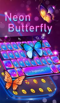 Swell Colorful Neon Butterfly Keyboard poster