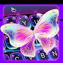 Colorful Glitter Neon Butterfly Keyboard Theme APK