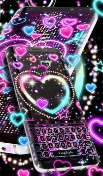 Neon Hearts Keyboard Theme screenshot 1