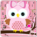 Pink Bow Owl Keyboard Theme APK