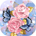 Pink Rose Blue Butterfly