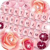 Pink Rose Diamond Keyboard Theme icon