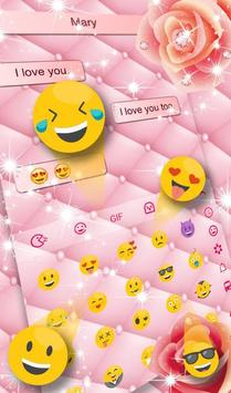 Pink Rose Diamond Keyboard Theme screenshot 3