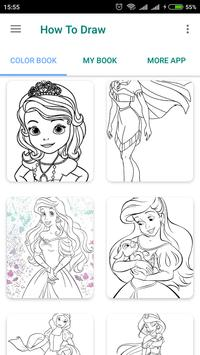 Cute Princess coloring pages poster