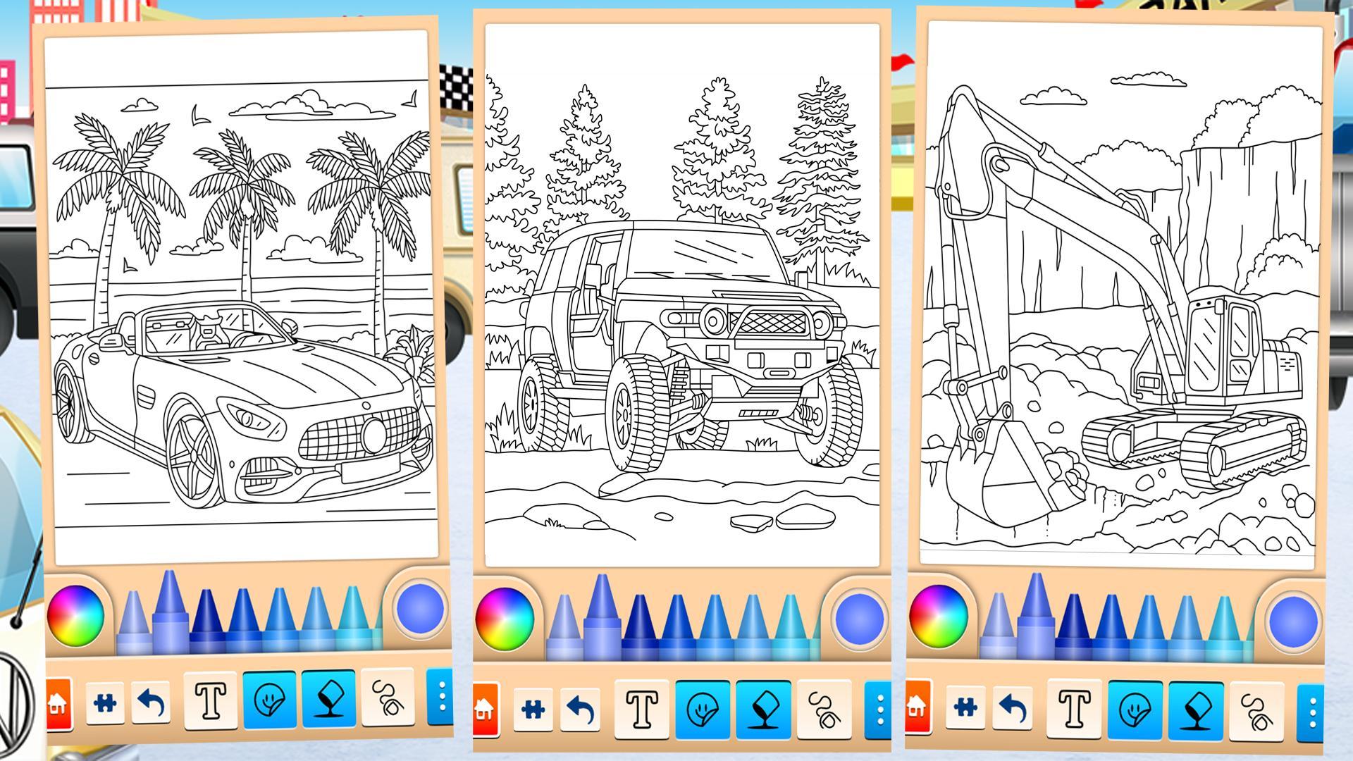 Ausmalbilder für Kinder: Autos für Android - APK herunterladen