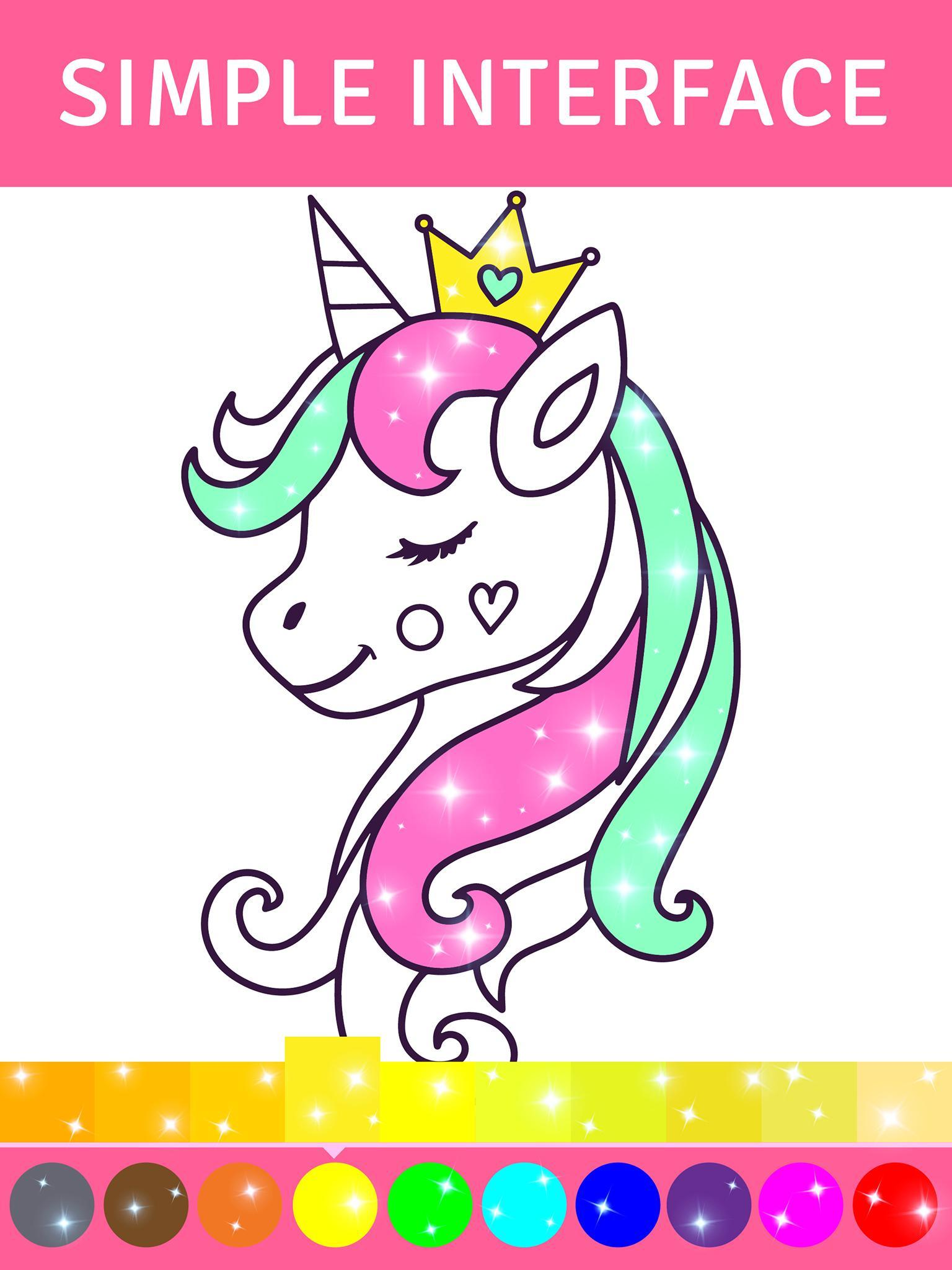 Animated Glitter Coloring Book My Little Unicorn For Android Apk