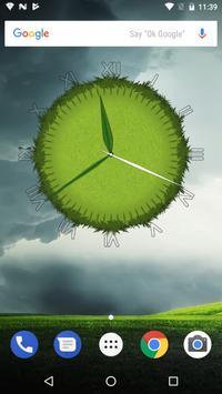 3D Cool Grass Clock Widget poster