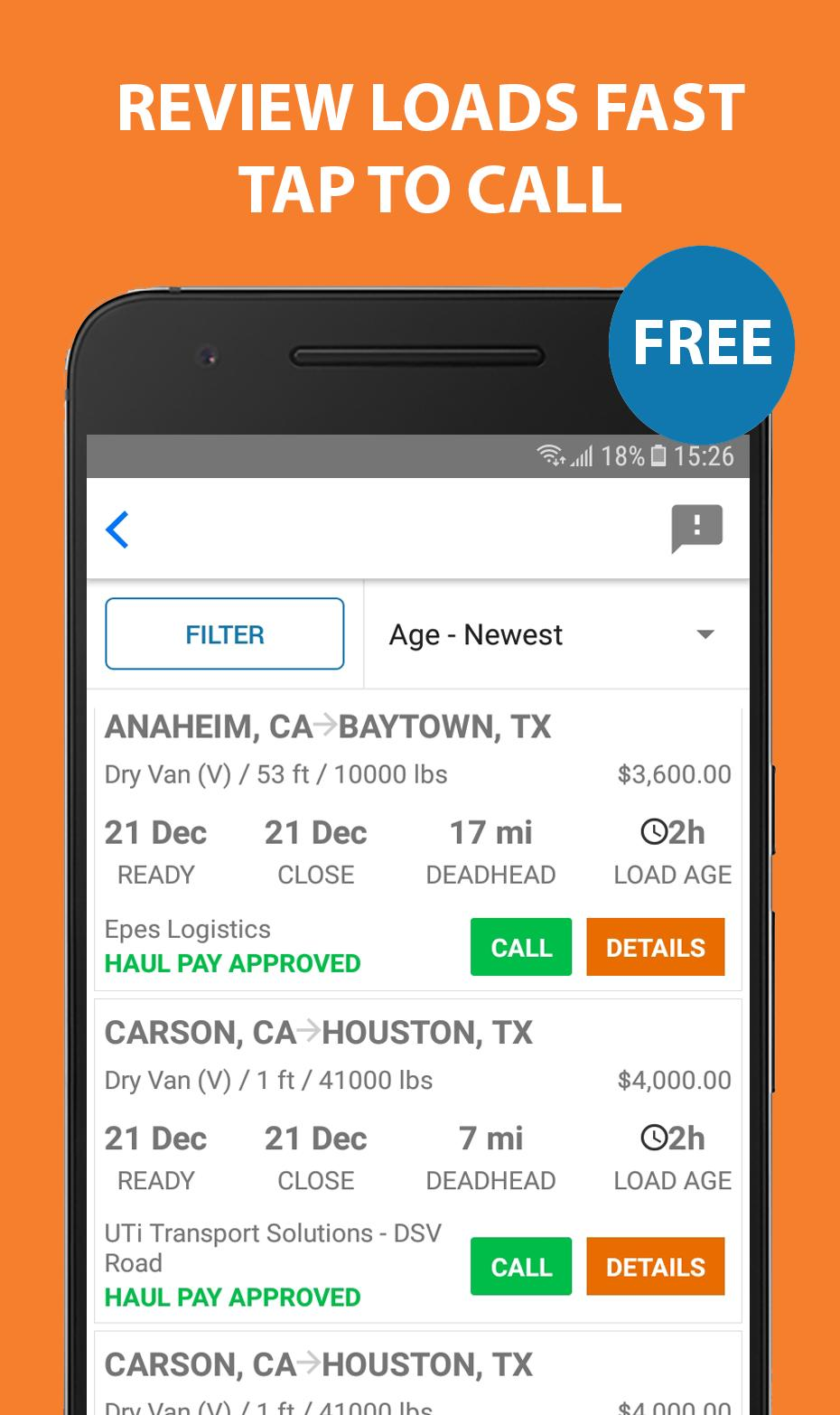 Find Truck Loads - Free Load Boards For Freight for Android