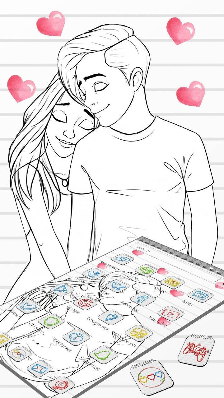 Simple Couple Love Sketch Theme For Android Apk Download