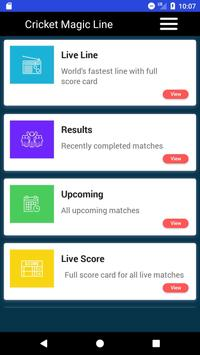 CricketScore - Cricket Magic Line स्क्रीनशॉट 1