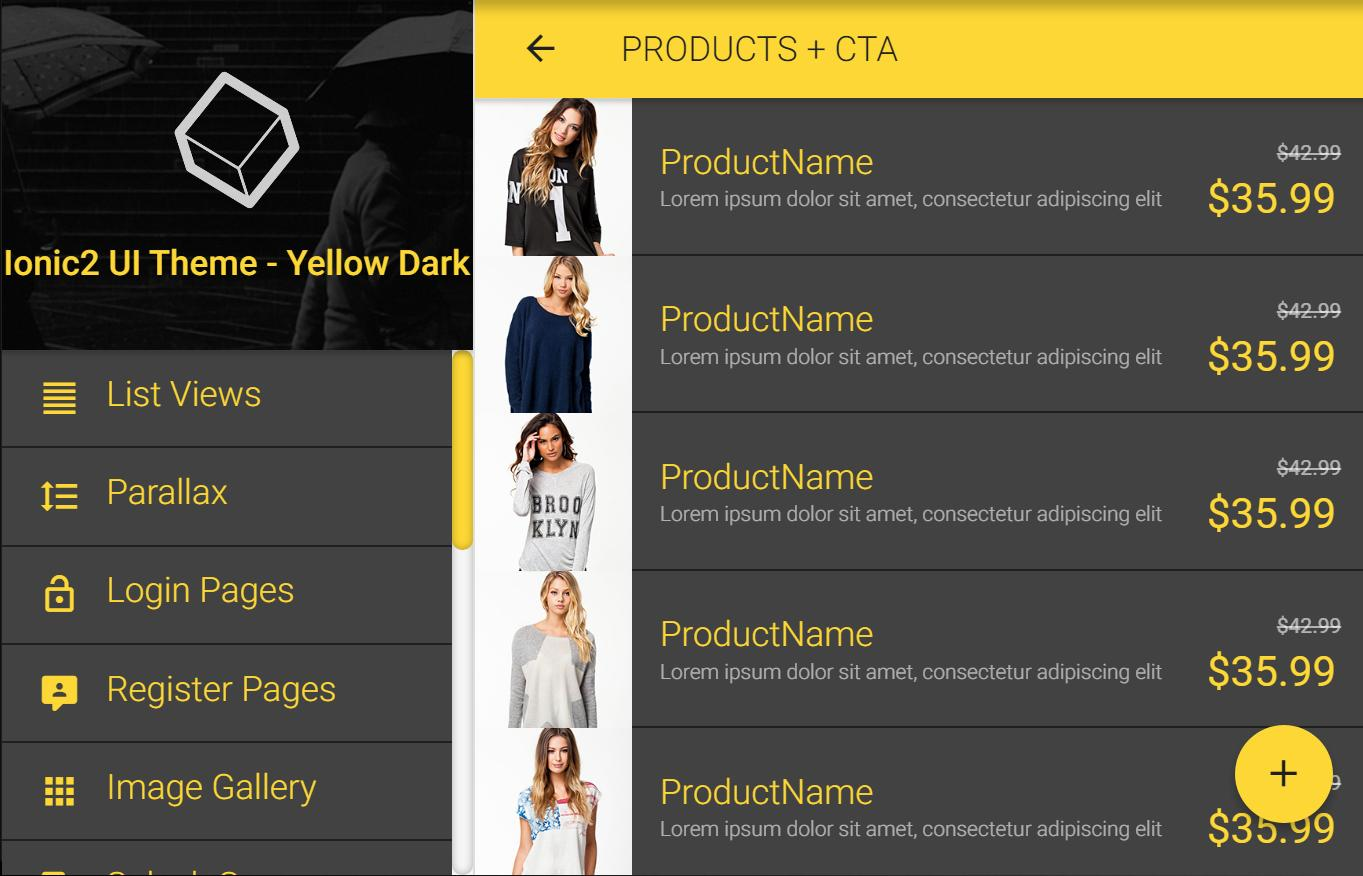 Ionic 3 Material Design UI Theme - Yellow Dark for Android - APK