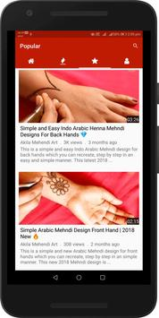 Simple Easy Mehndi Designs Videos : Arabic, Indian screenshot 2