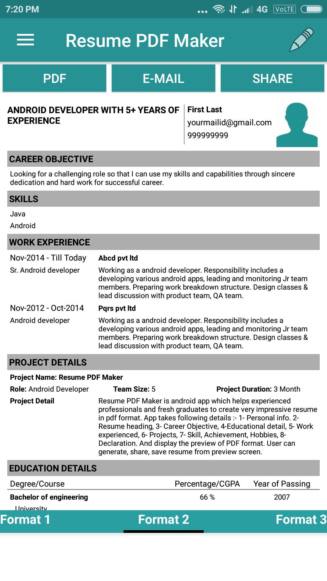 Resume PDF Maker for Android - APK Download