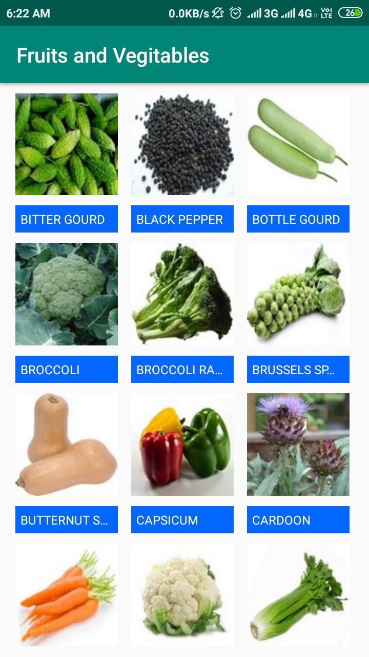 List Of Fruits And Vegetables Names
