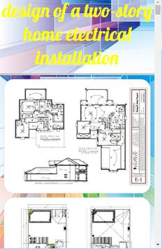 design of a two-story home electrical installation poster